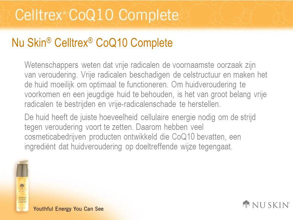 Nu Skin ® Celltrex ® CoQ10 Complete Wetenschappers weten dat vrije radicalen de voornaamste oorzaak zijn van veroudering. Vrije radicalen beschadigen
