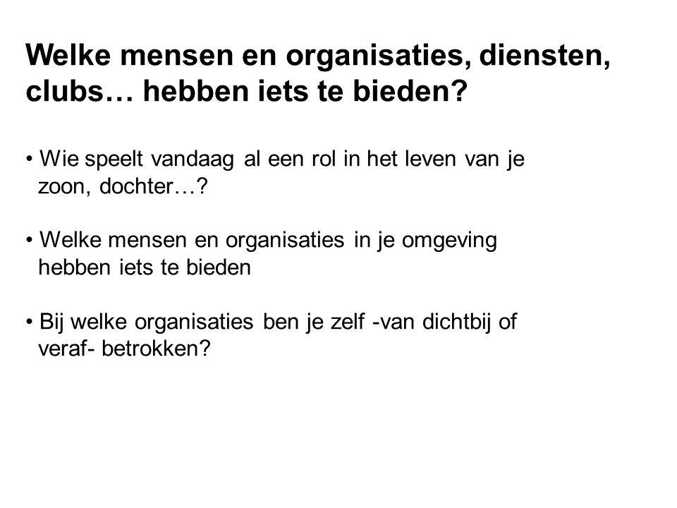 Welke mensen en organisaties, diensten, clubs… hebben iets te bieden.