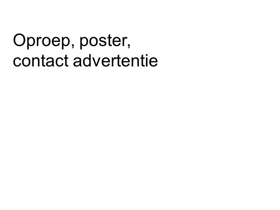 Oproep, poster, contact advertentie