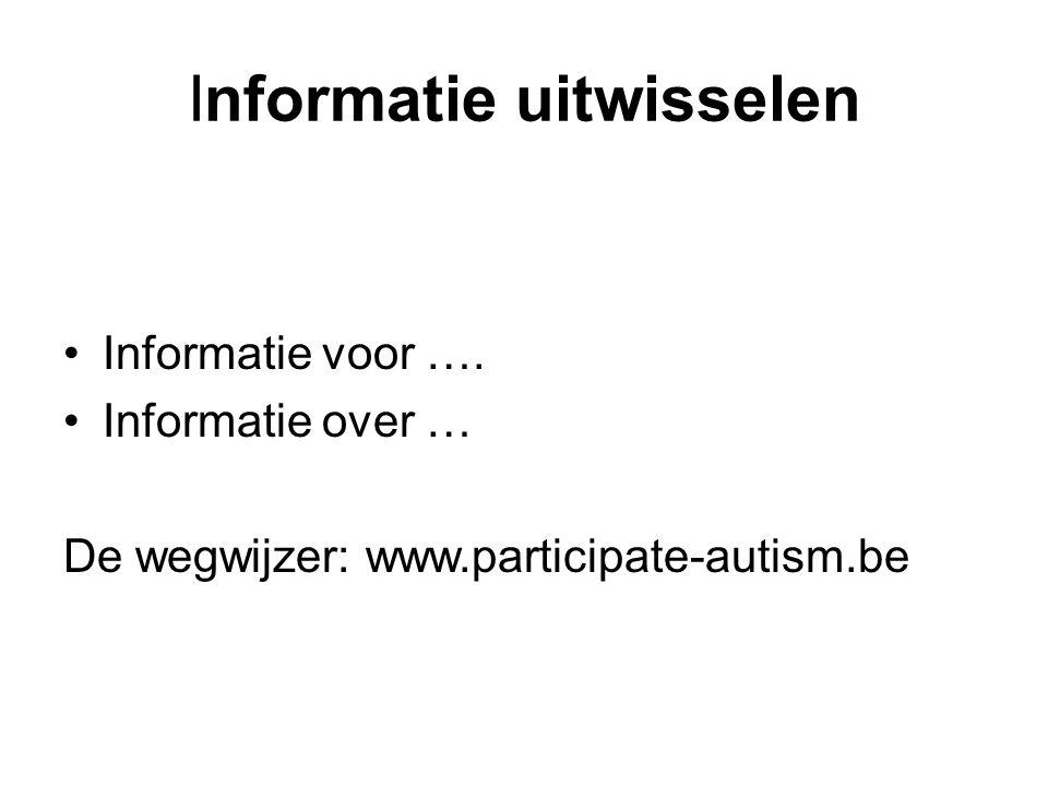Informatie uitwisselen •Informatie voor ….