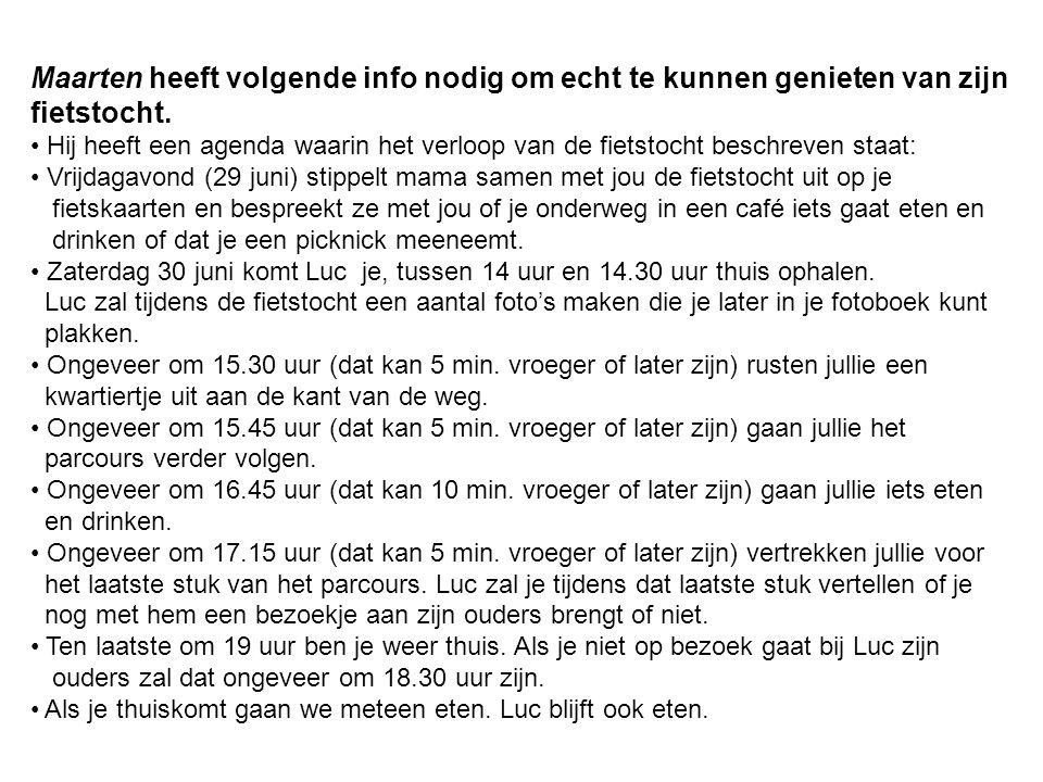 Maarten heeft volgende info nodig om echt te kunnen genieten van zijn fietstocht.