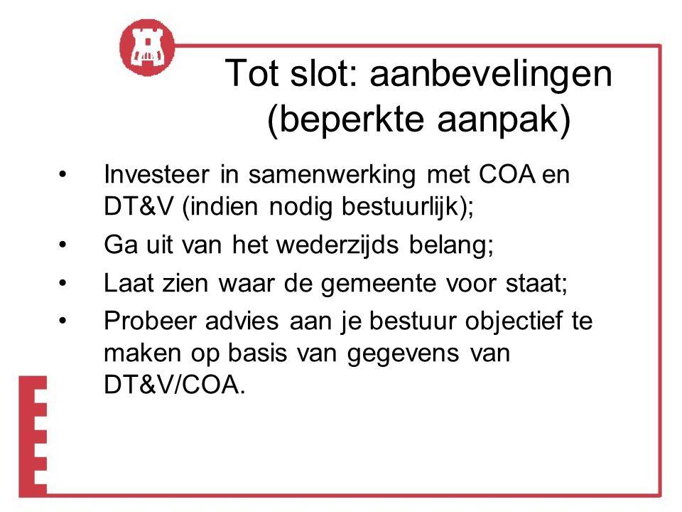 •Investeer in samenwerking met COA en DT&V (indien nodig bestuurlijk); •Ga uit van het wederzijds belang; •Laat zien waar de gemeente voor staat; •Probeer advies aan je bestuur objectief te maken op basis van gegevens van DT&V/COA.
