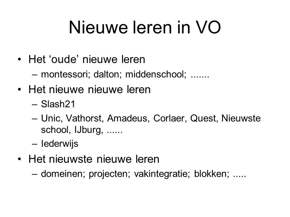 Nieuwe leren in VO •Het 'oude' nieuwe leren –montessori; dalton; middenschool;....... •Het nieuwe nieuwe leren –Slash21 –Unic, Vathorst, Amadeus, Corl