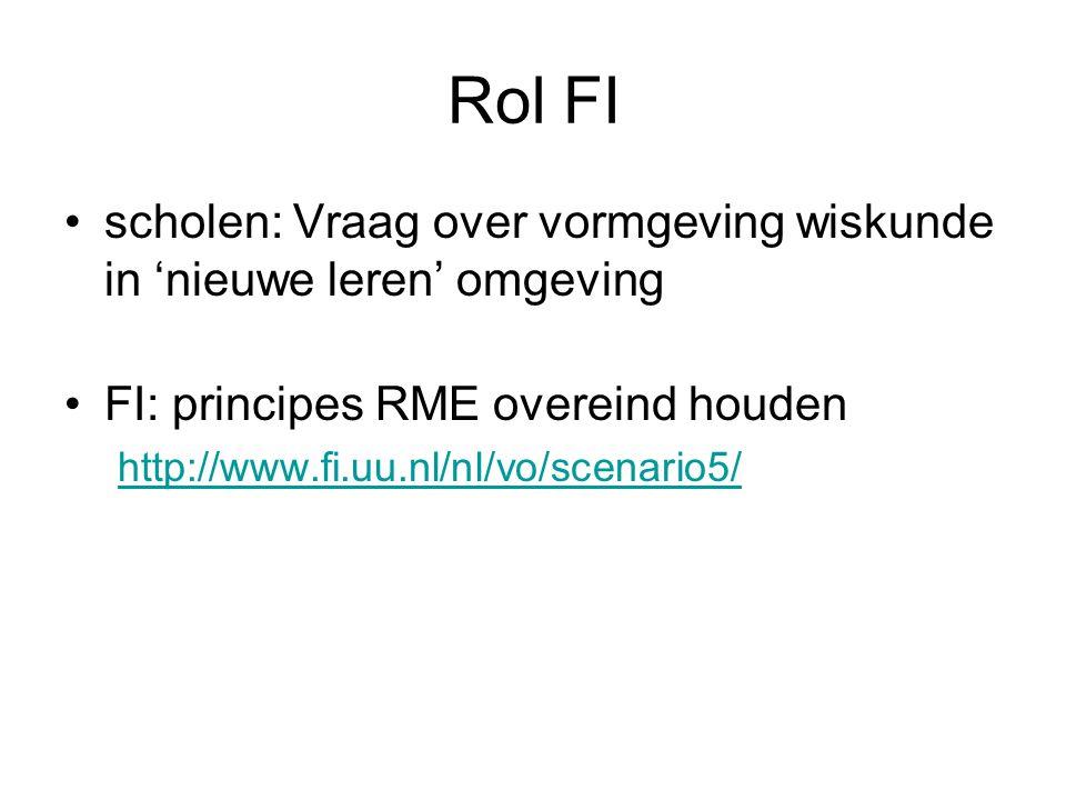 Rol FI •scholen: Vraag over vormgeving wiskunde in 'nieuwe leren' omgeving •FI: principes RME overeind houden http://www.fi.uu.nl/nl/vo/scenario5/