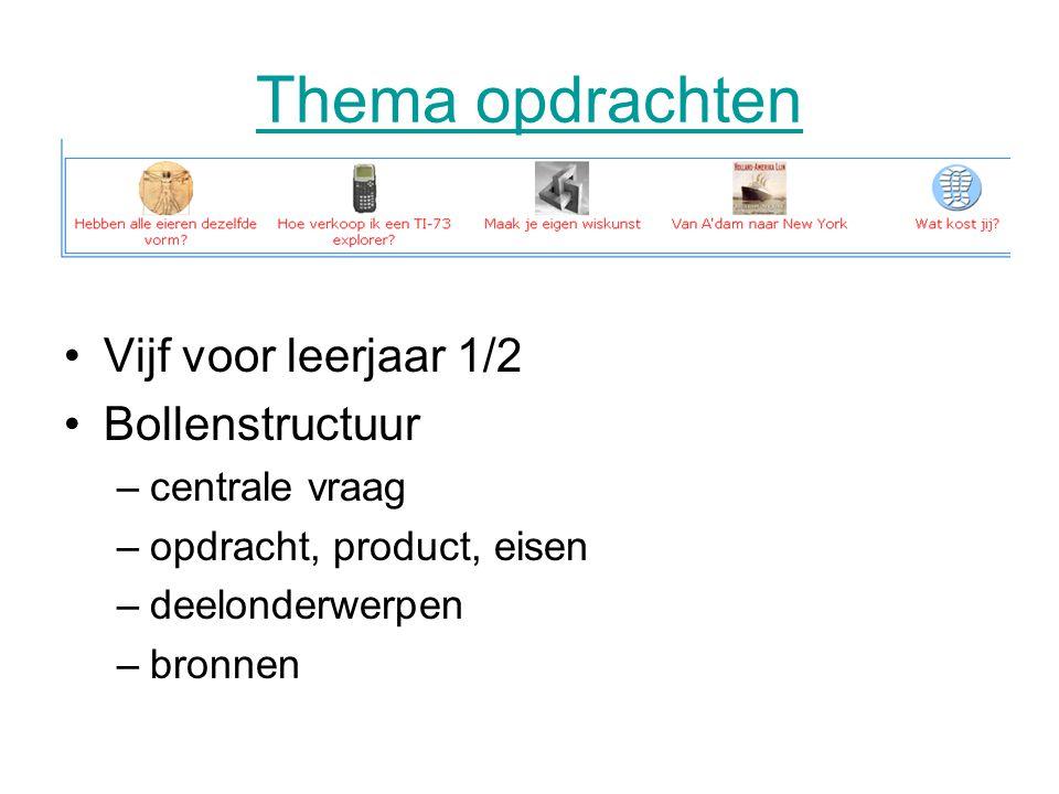 Thema opdrachten •Vijf voor leerjaar 1/2 •Bollenstructuur –centrale vraag –opdracht, product, eisen –deelonderwerpen –bronnen