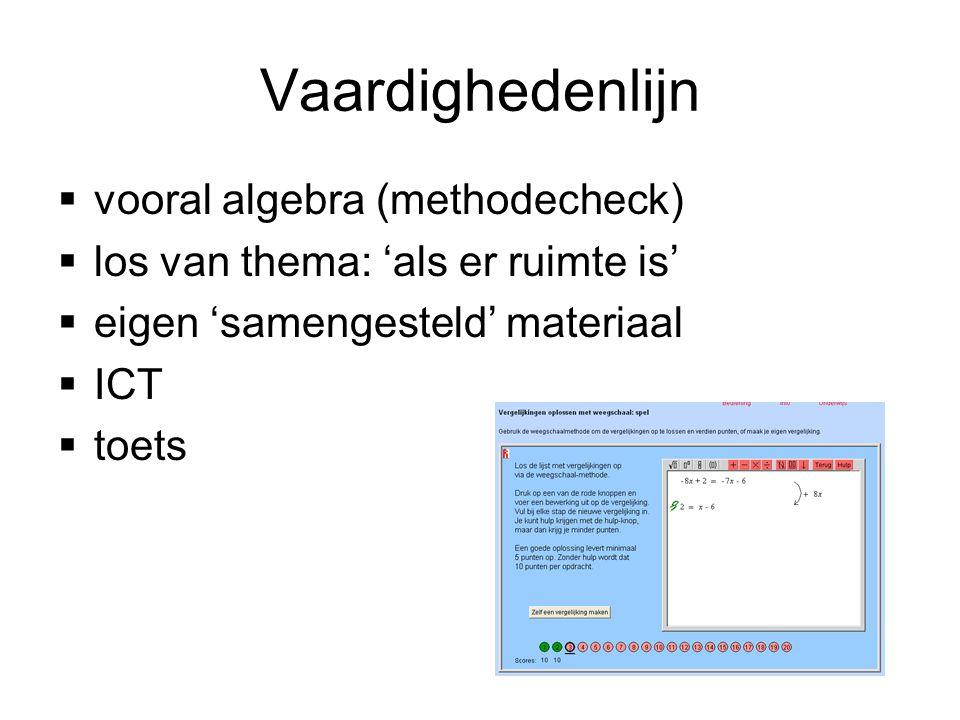 Vaardighedenlijn  vooral algebra (methodecheck)  los van thema: 'als er ruimte is'  eigen 'samengesteld' materiaal  ICT  toets