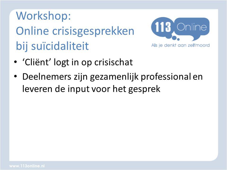 Workshop: Online crisisgesprekken bij suïcidaliteit • 'Cliënt' logt in op crisischat • Deelnemers zijn gezamenlijk professional en leveren de input vo