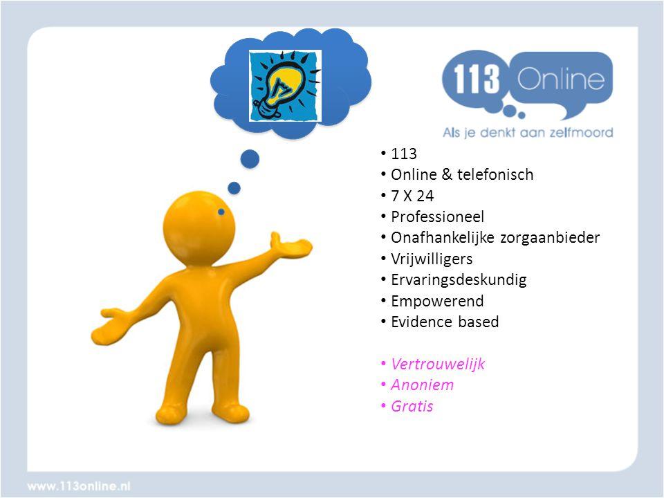 • 113 • Online & telefonisch • 7 X 24 • Professioneel • Onafhankelijke zorgaanbieder • Vrijwilligers • Ervaringsdeskundig • Empowerend • Evidence base