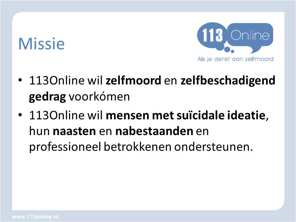 Missie • 113Online wil zelfmoord en zelfbeschadigend gedrag voorkómen • 113Online wil mensen met suïcidale ideatie, hun naasten en nabestaanden en pro
