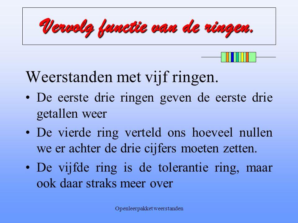Openleerpakket weerstanden Voorbeeld met vier ringen Een weerstand heeft de volgende codering: Ring #:kleur FunctieWaarde Ring 1:geel 1 e getal 4 Ring