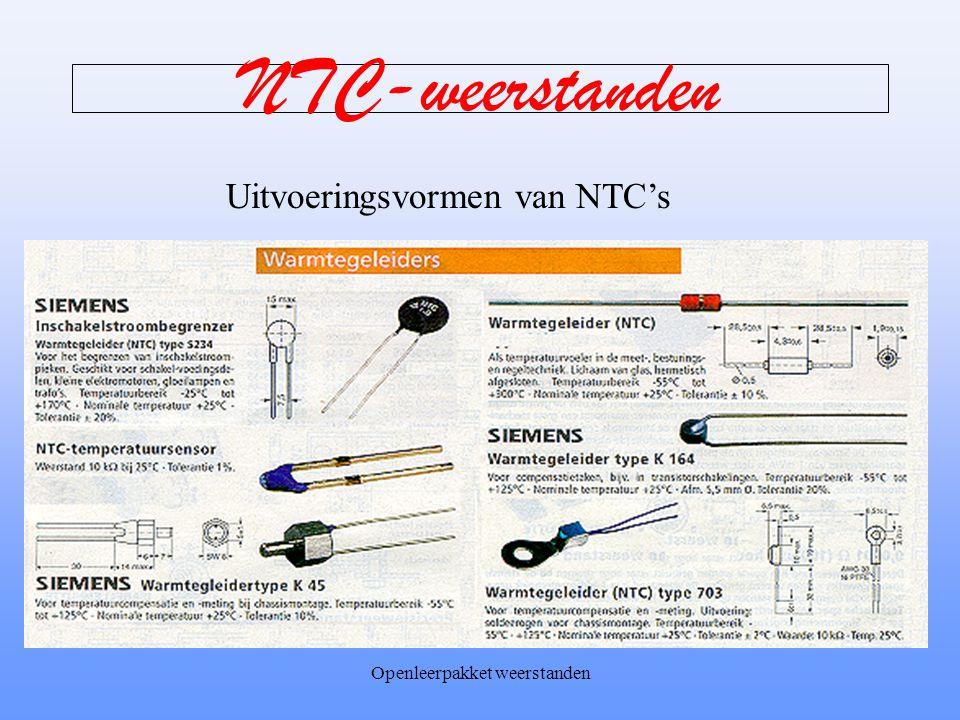 Openleerpakket weerstanden NTC-weerstanden NTC betekent Negatieve Temperatuur Coëfficiënt. Negatieve Temperatuur omdat de weerstand daalt bij een temp