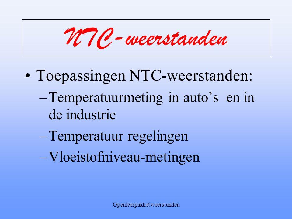 Openleerpakket weerstanden NTC-weerstanden T stijgt R daalt T R
