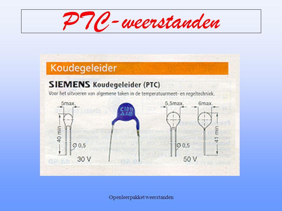 Openleerpakket weerstanden PTC-weerstanden PTC betekent Positieve Temperatuur Coëfficiënt. Positieve Temperatuur omdat de weerstand toeneemt bij een t