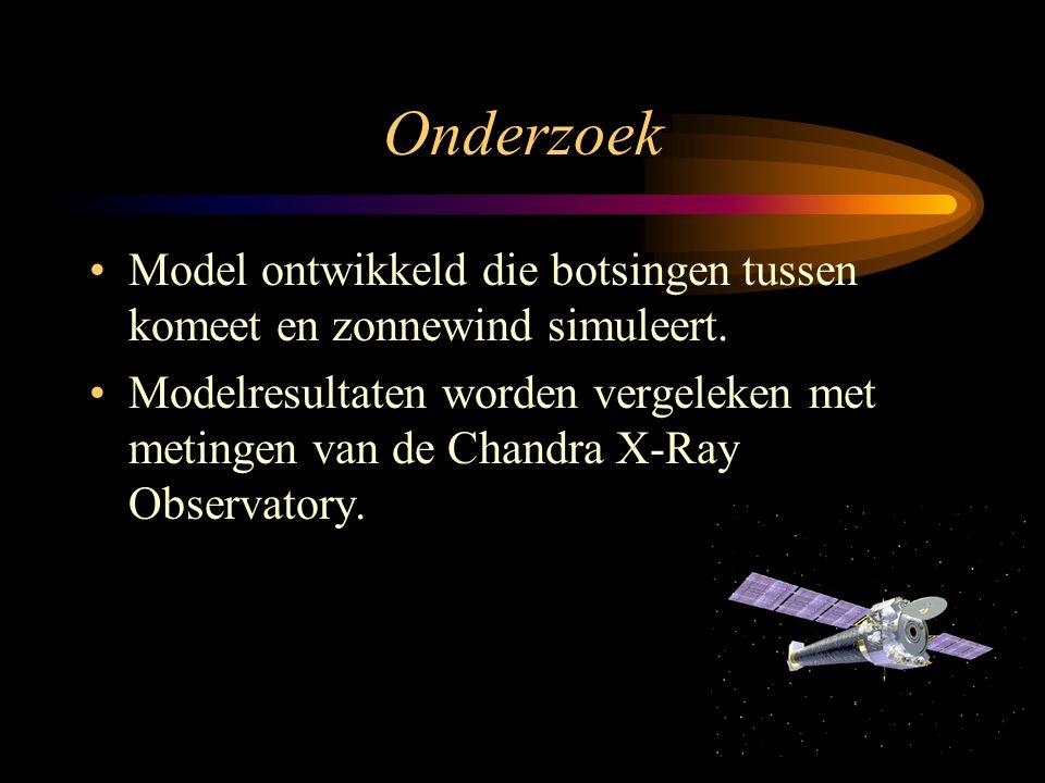 Onderzoek •Model ontwikkeld die botsingen tussen komeet en zonnewind simuleert. •Modelresultaten worden vergeleken met metingen van de Chandra X-Ray O