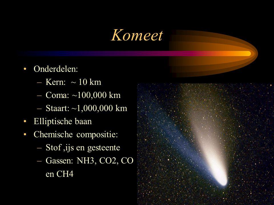 Komeet •Onderdelen: –Kern: ~ 10 km –Coma: ~100,000 km –Staart: ~1,000,000 km •Elliptische baan •Chemische compositie: –Stof,ijs en gesteente –Gassen: