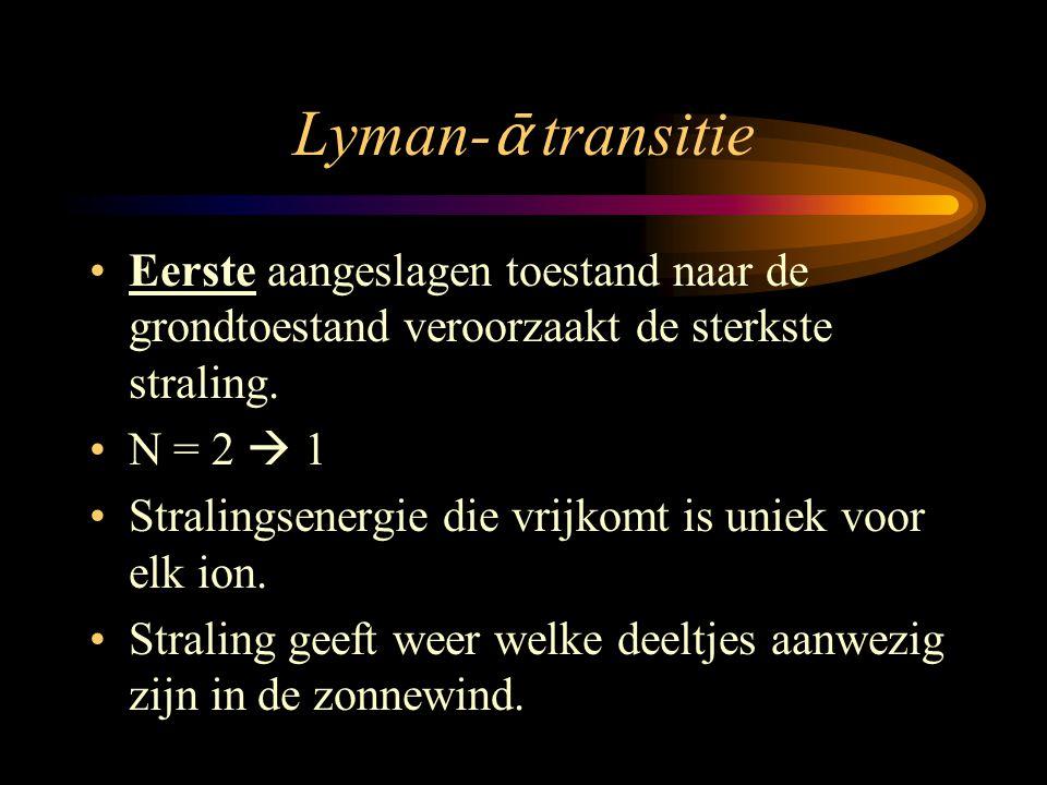 Lyman- ᾱ transitie •Eerste aangeslagen toestand naar de grondtoestand veroorzaakt de sterkste straling. •N = 2  1 •Stralingsenergie die vrijkomt is u