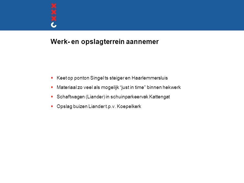 "Werk- en opslagterrein aannemer  Keet op ponton Singel ts steiger en Haarlemmersluis  Materiaal zo veel als mogelijk ""just in time"" binnen hekwerk "