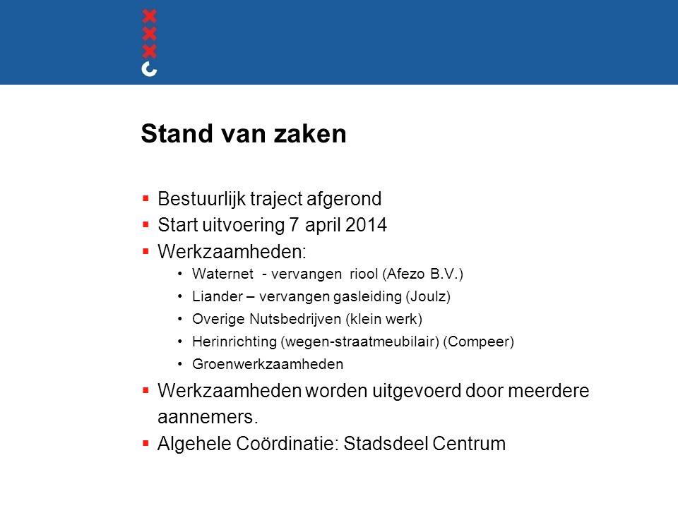 Stand van zaken  Bestuurlijk traject afgerond  Start uitvoering 7 april 2014  Werkzaamheden: •Waternet - vervangen riool (Afezo B.V.) •Liander – ve
