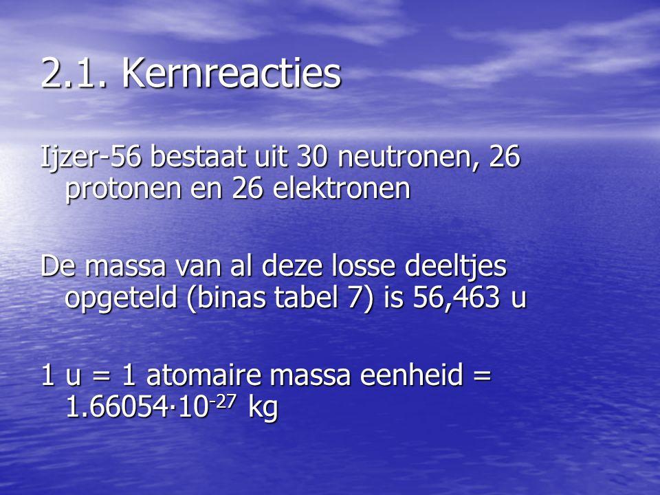 2.1. Kernreacties Ijzer-56 bestaat uit 30 neutronen, 26 protonen en 26 elektronen De massa van al deze losse deeltjes opgeteld (binas tabel 7) is 56,4
