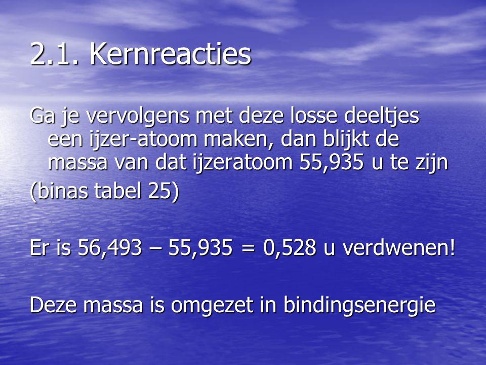 2.1. Kernreacties Ga je vervolgens met deze losse deeltjes een ijzer-atoom maken, dan blijkt de massa van dat ijzeratoom 55,935 u te zijn (binas tabel