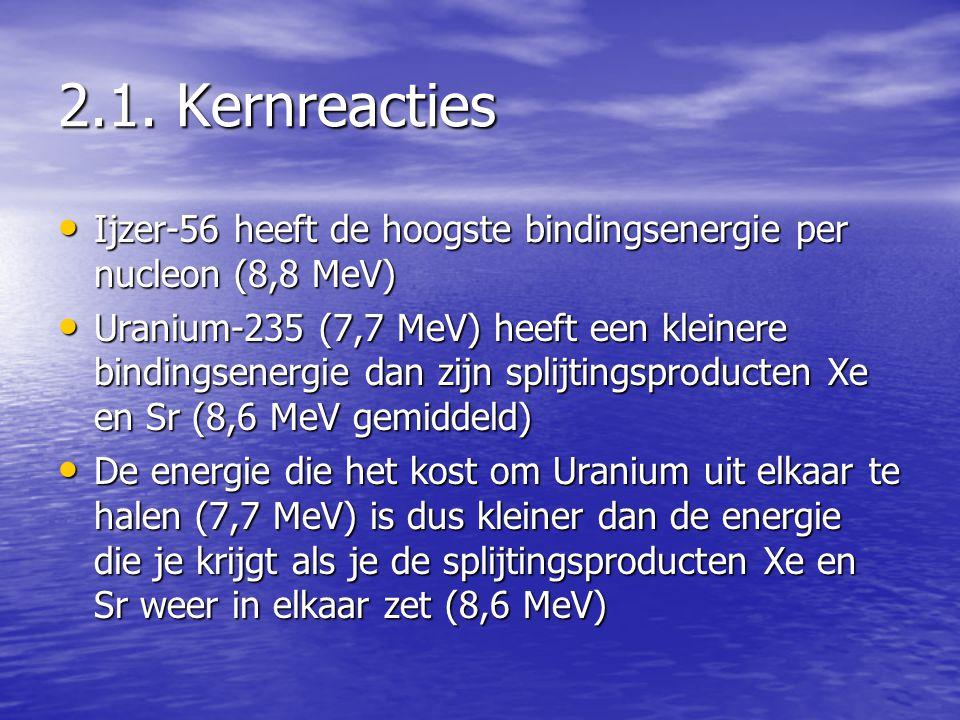• Ijzer-56 heeft de hoogste bindingsenergie per nucleon (8,8 MeV) • Uranium-235 (7,7 MeV) heeft een kleinere bindingsenergie dan zijn splijtingsproducten Xe en Sr (8,6 MeV gemiddeld) • De energie die het kost om Uranium uit elkaar te halen (7,7 MeV) is dus kleiner dan de energie die je krijgt als je de splijtingsproducten Xe en Sr weer in elkaar zet (8,6 MeV)