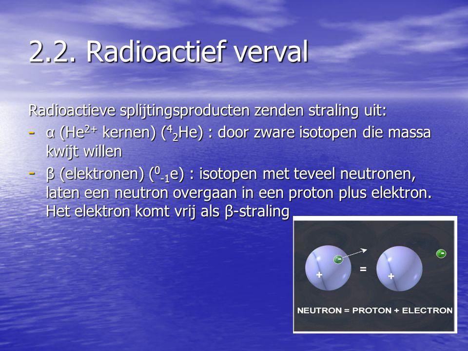 2.2. Radioactief verval Radioactieve splijtingsproducten zenden straling uit: - α (He 2+ kernen) ( 4 2 He) : door zware isotopen die massa kwijt wille