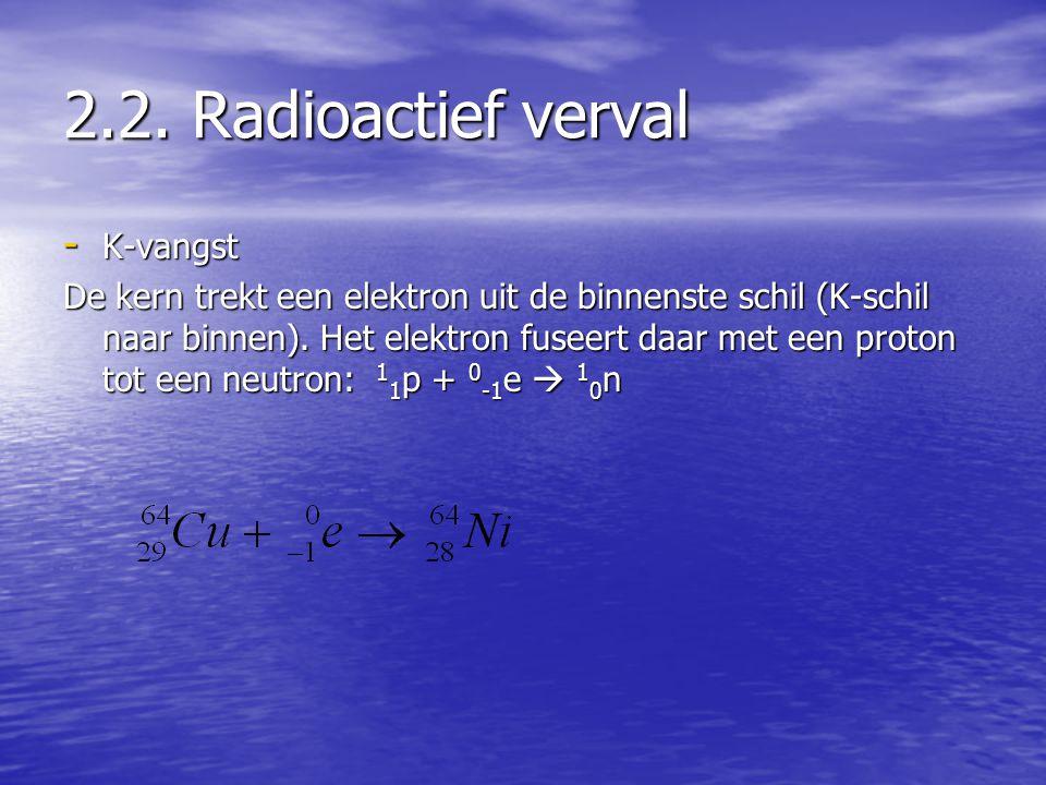 2.2. Radioactief verval - K-vangst De kern trekt een elektron uit de binnenste schil (K-schil naar binnen). Het elektron fuseert daar met een proton t