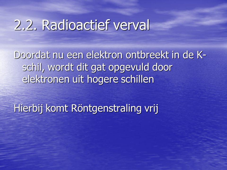 2.2. Radioactief verval Doordat nu een elektron ontbreekt in de K- schil, wordt dit gat opgevuld door elektronen uit hogere schillen Hierbij komt Rönt