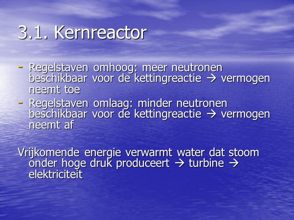 3.1. Kernreactor - Regelstaven omhoog: meer neutronen beschikbaar voor de kettingreactie  vermogen neemt toe - Regelstaven omlaag: minder neutronen b
