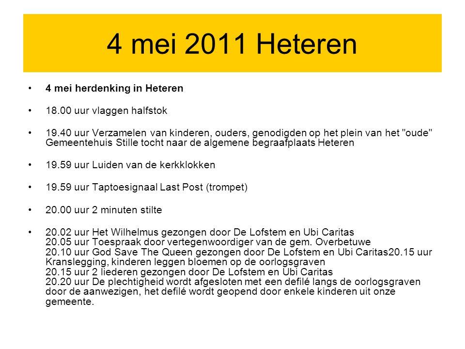 Extra informatie 4 mei 2011 Heteren De Britse eregraven in Heteren (gemeente Overbetuwe) herbergen het stoffelijk overschot van 21 gesneuvelde militairen.