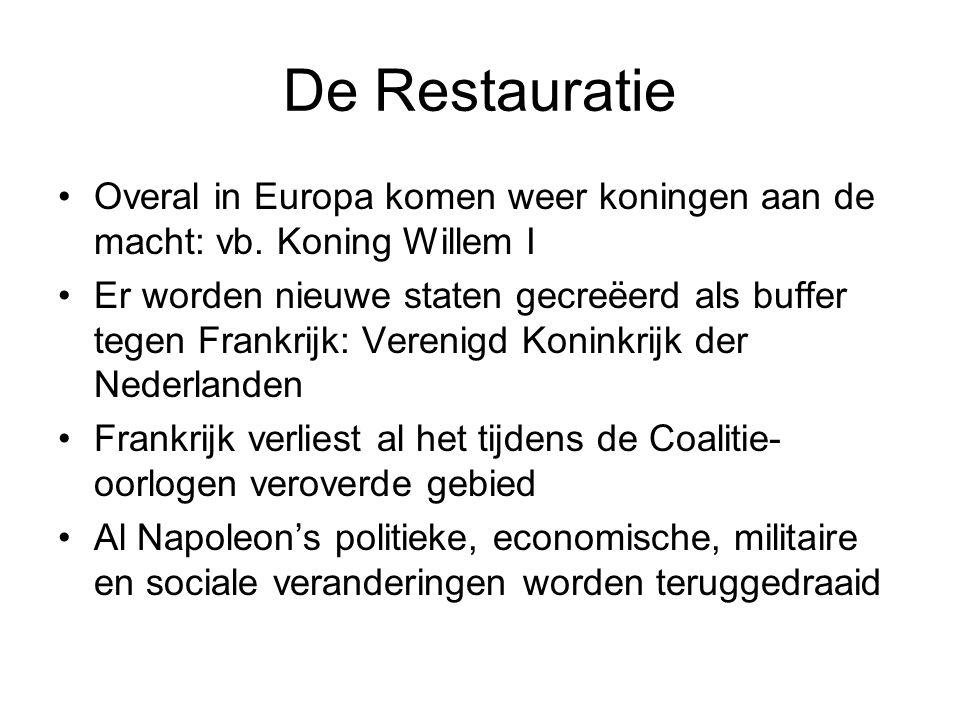 De Restauratie •Overal in Europa komen weer koningen aan de macht: vb.