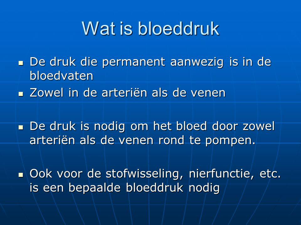 Wat is bloeddruk  De druk die permanent aanwezig is in de bloedvaten  Zowel in de arteriën als de venen  De druk is nodig om het bloed door zowel a
