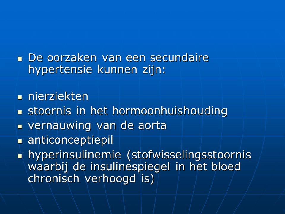  De oorzaken van een secundaire hypertensie kunnen zijn:  nierziekten  stoornis in het hormoonhuishouding  vernauwing van de aorta  anticonceptie