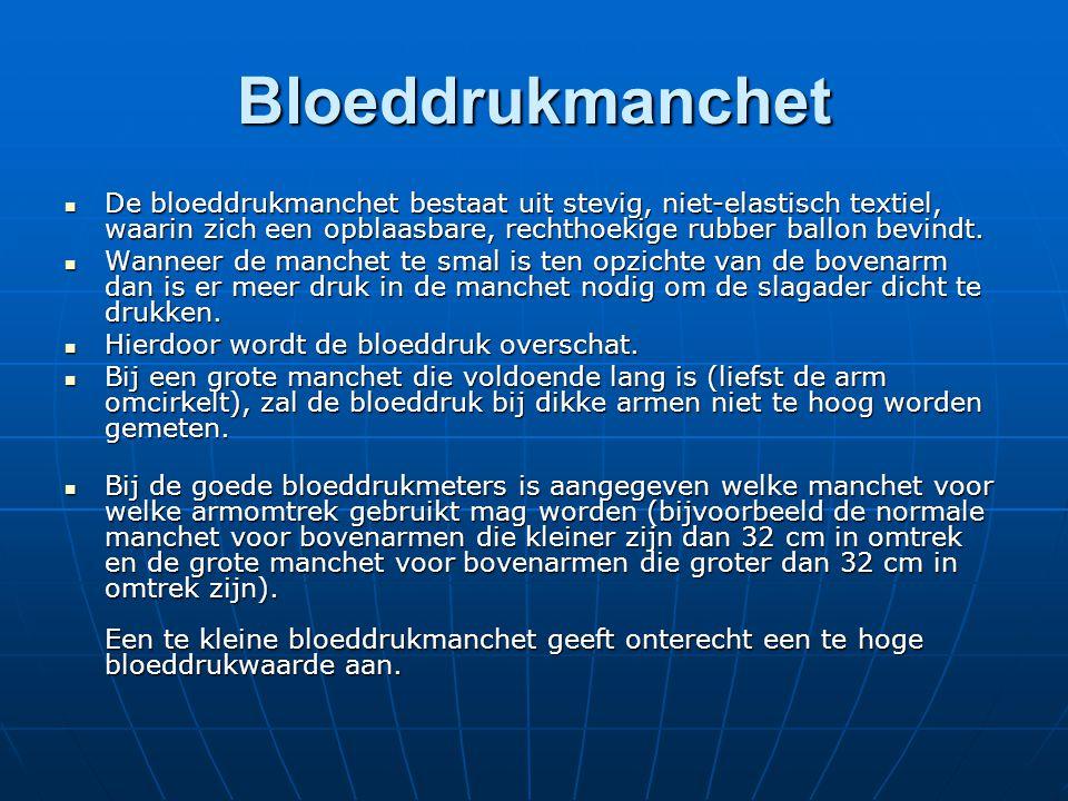 Bloeddrukmanchet  De bloeddrukmanchet bestaat uit stevig, niet-elastisch textiel, waarin zich een opblaasbare, rechthoekige rubber ballon bevindt. 