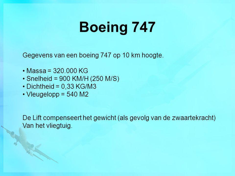 Boeing 747 Gegevens van een boeing 747 op 10 km hoogte. • Massa = 320.000 KG • Snelheid = 900 KM/H (250 M/S) • Dichtheid = 0,33 KG/M3 • Vleugelopp = 5