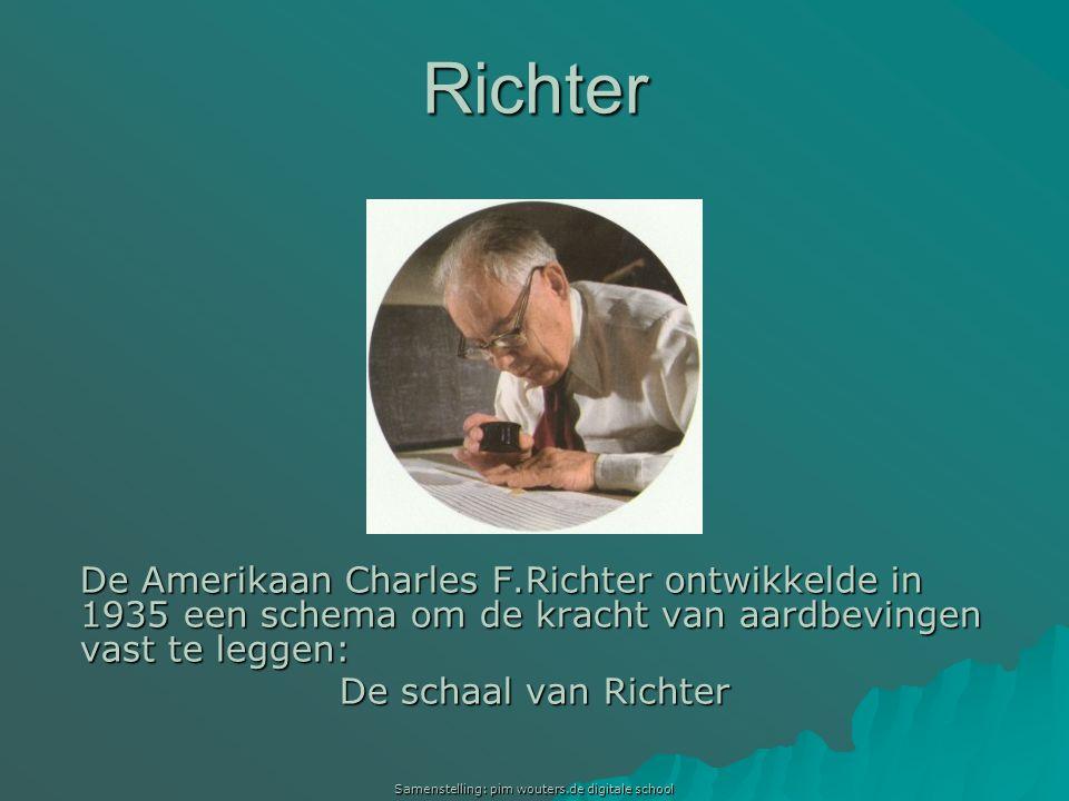 Samenstelling: pim wouters.de digitale school Richter De Amerikaan Charles F.Richter ontwikkelde in 1935 een schema om de kracht van aardbevingen vast