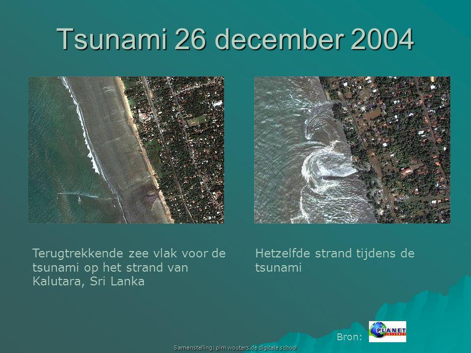 Samenstelling: pim wouters.de digitale school Terugtrekkende zee vlak voor de tsunami op het strand van Kalutara, Sri Lanka Hetzelfde strand tijdens d