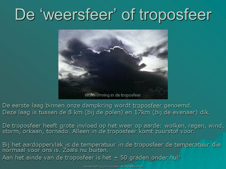 Samenstelling: pim wouters.de digitale school De 'weersfeer' of troposfeer De eerste laag binnen onze dampkring wordt troposfeer genoemd. Deze laag is