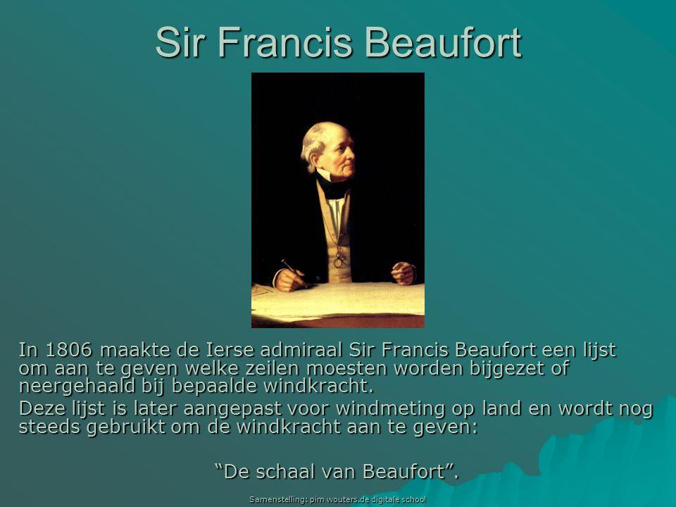 Samenstelling: pim wouters.de digitale school In 1806 maakte de Ierse admiraal Sir Francis Beaufort een lijst om aan te geven welke zeilen moesten wor