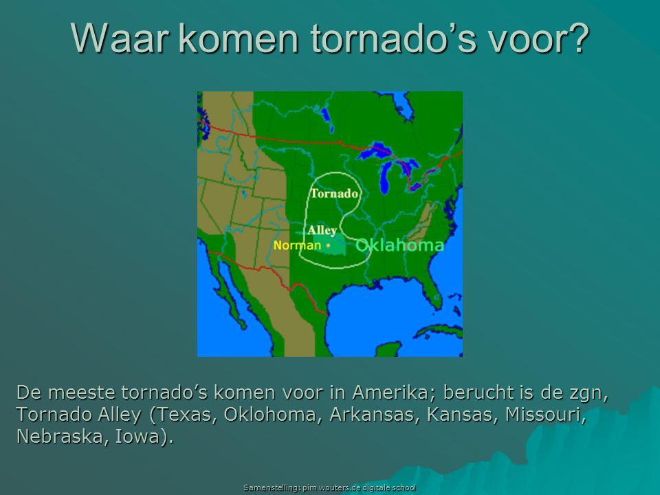Samenstelling: pim wouters.de digitale school Waar komen tornado's voor? De meeste tornado's komen voor in Amerika; berucht is de zgn, Tornado Alley (