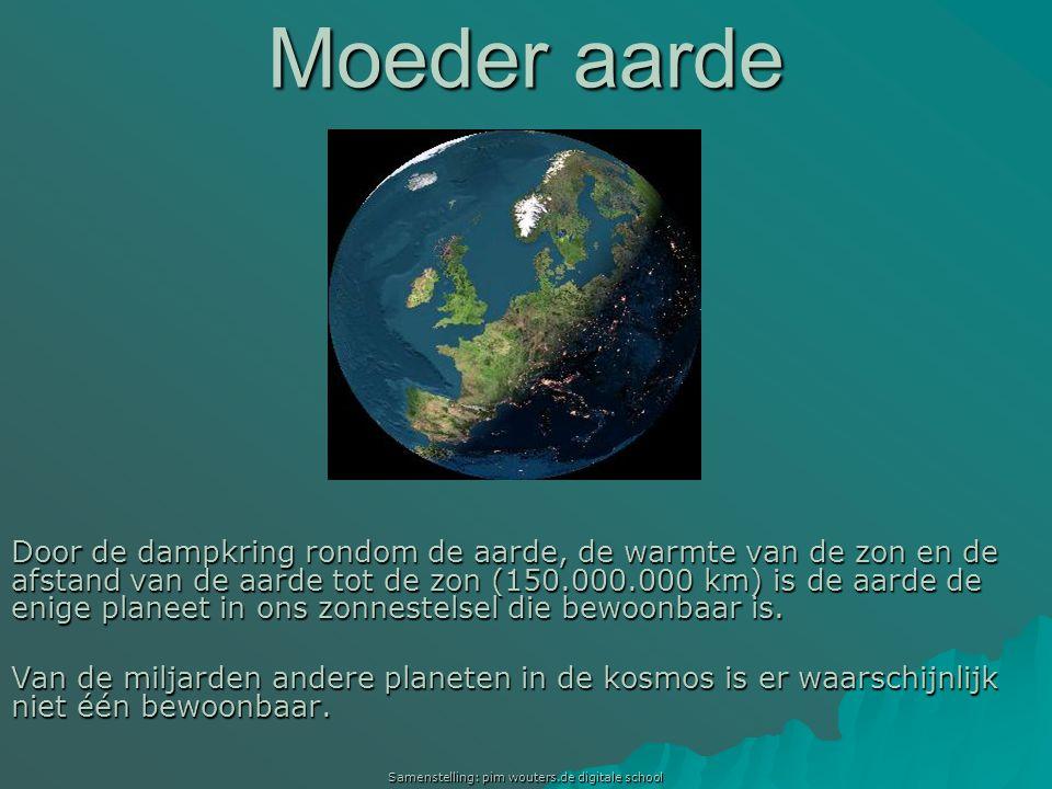 Samenstelling: pim wouters.de digitale school Moeder aarde Door de dampkring rondom de aarde, de warmte van de zon en de afstand van de aarde tot de z