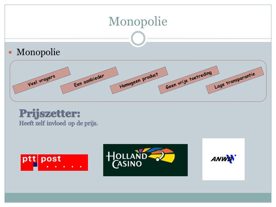 Monopolie  Monopolie Veel vragersEen aanbiederHomogeen productLage transparantie Geen vrije toetreding