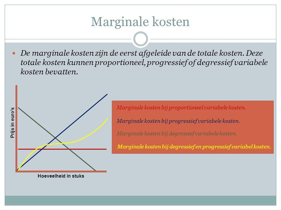 Marginale kosten  De marginale kosten zijn de eerst afgeleide van de totale kosten.