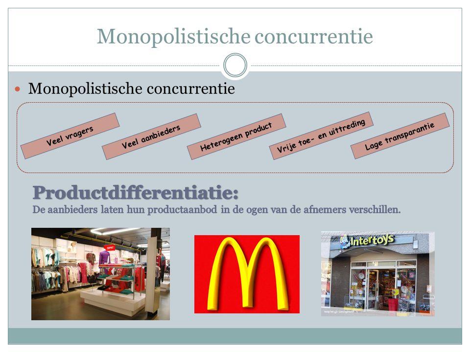 Monopolistische concurrentie  Monopolistische concurrentie Veel vragers Veel aanbiedersHeterogeen product Lage transparantie Vrije toe- en uittreding