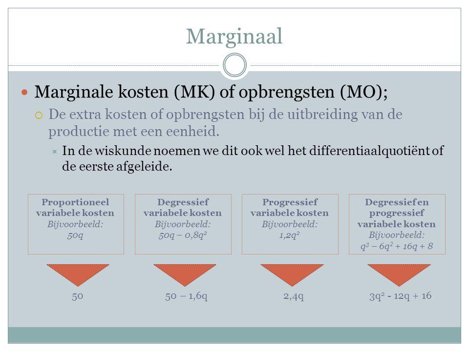 Marginaal  Marginale kosten (MK) of opbrengsten (MO);  De extra kosten of opbrengsten bij de uitbreiding van de productie met een eenheid.