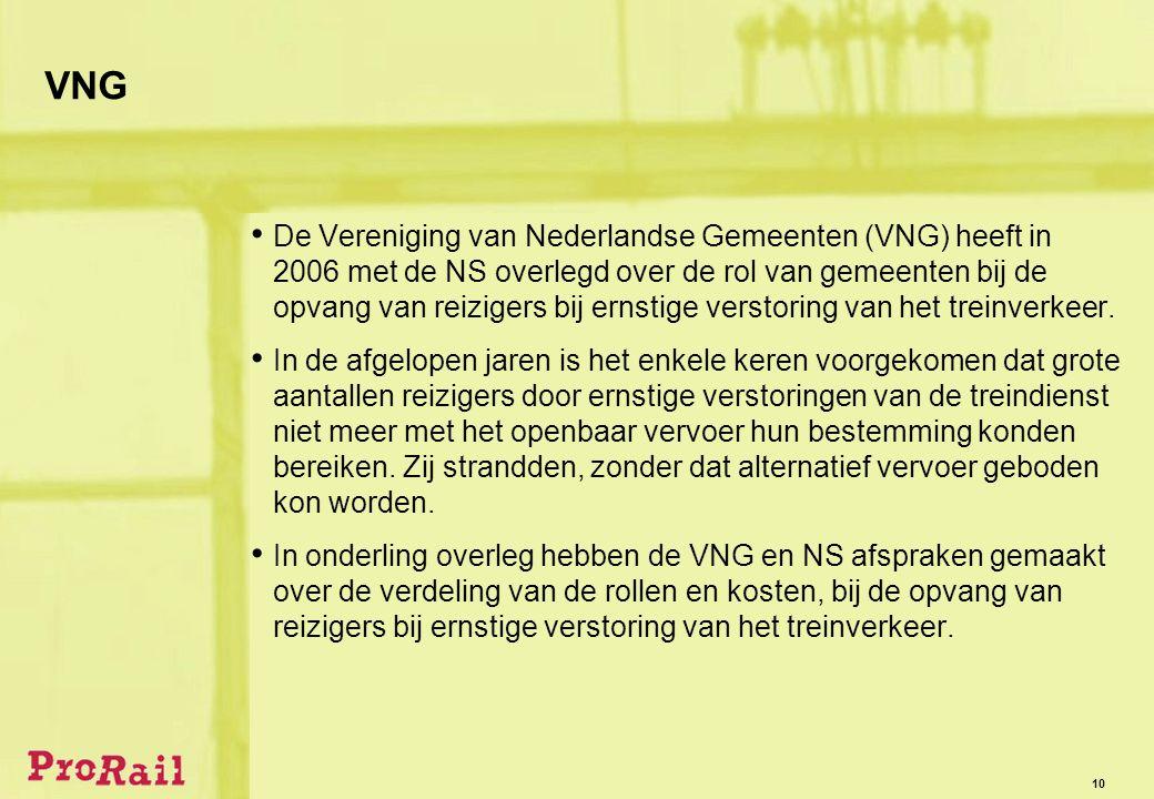 10 VNG • De Vereniging van Nederlandse Gemeenten (VNG) heeft in 2006 met de NS overlegd over de rol van gemeenten bij de opvang van reizigers bij ernstige verstoring van het treinverkeer.
