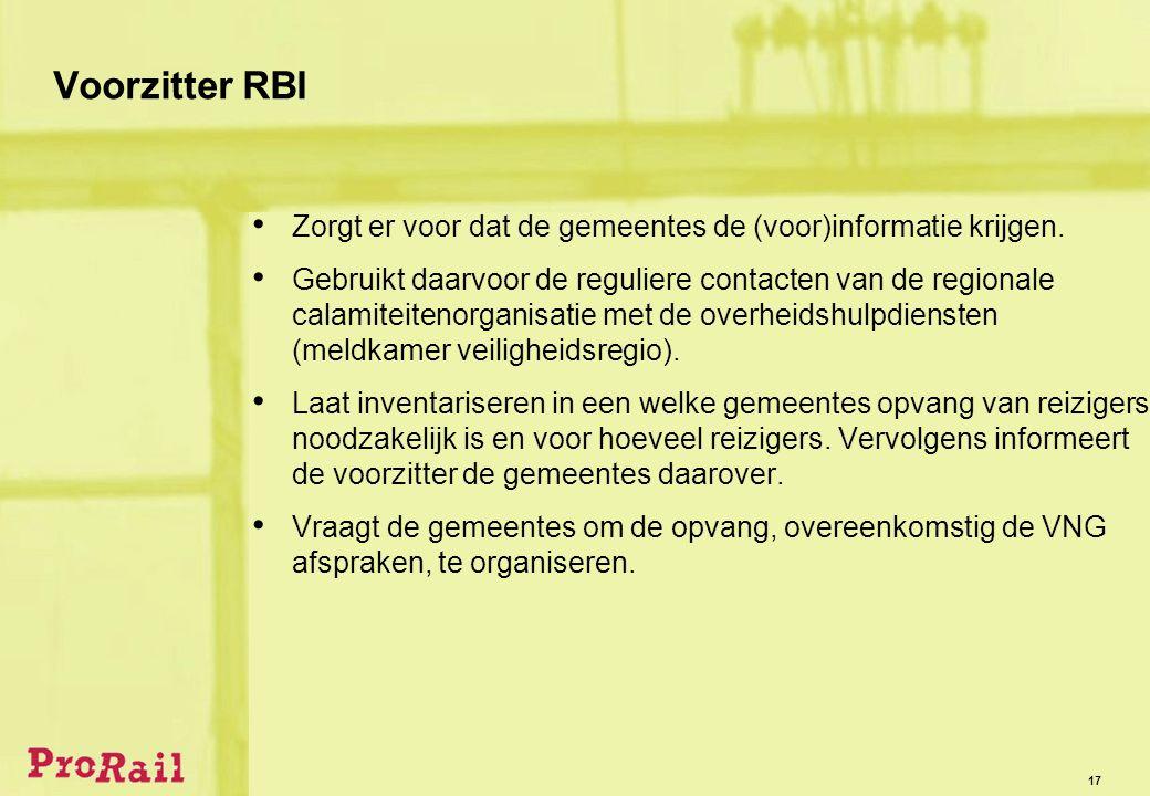 17 Voorzitter RBI • Zorgt er voor dat de gemeentes de (voor)informatie krijgen.