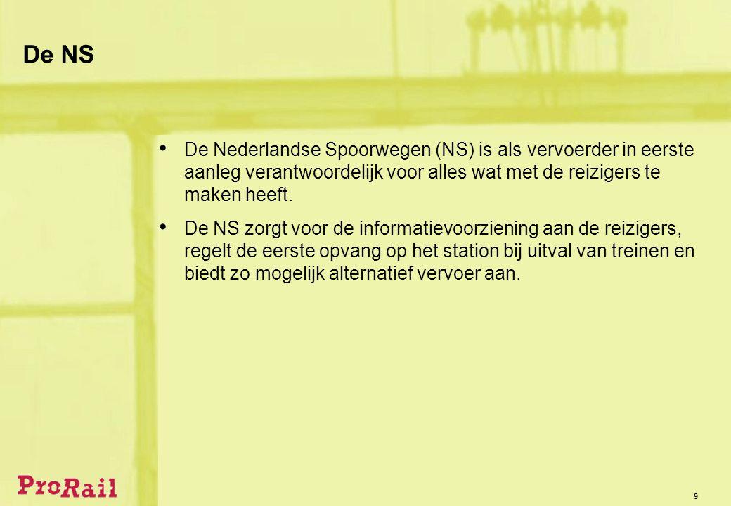 9 De NS • De Nederlandse Spoorwegen (NS) is als vervoerder in eerste aanleg verantwoordelijk voor alles wat met de reizigers te maken heeft.