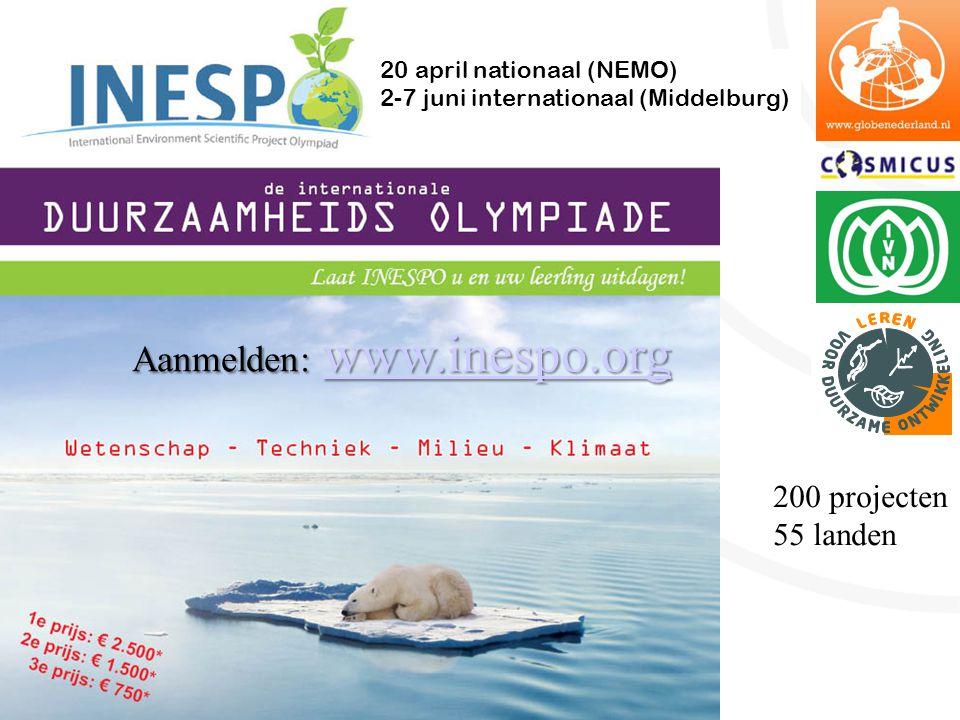 200 projecten 55 landen 20 april nationaal (NEMO) 2-7 juni internationaal (Middelburg) Aanmelden: www.inespo.org www.inespo.org