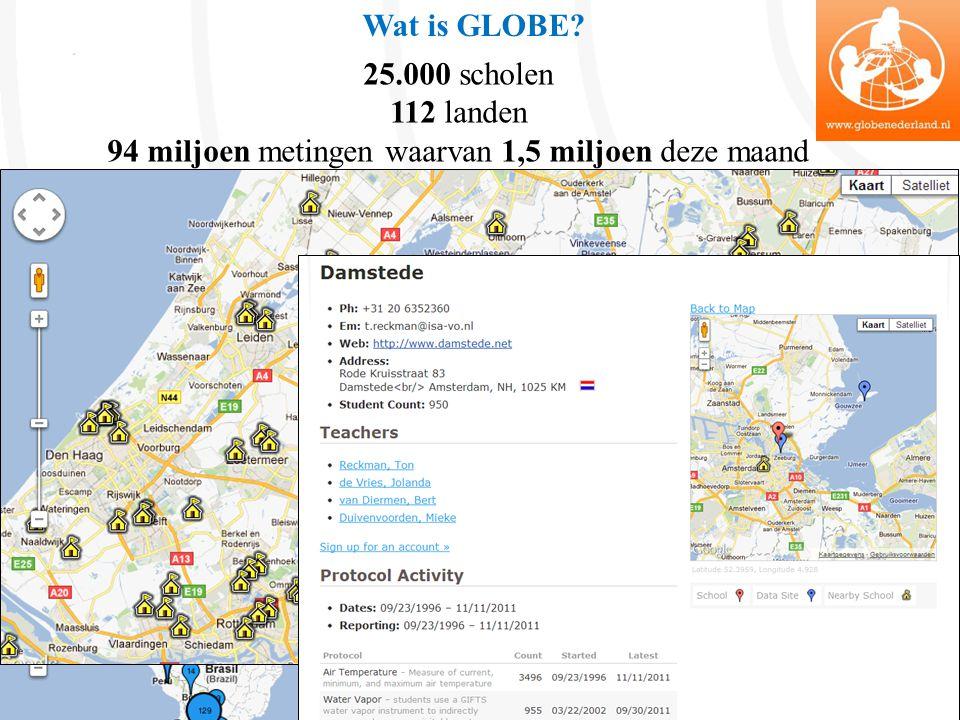 25.000 scholen 112 landen 94 miljoen metingen waarvan 1,5 miljoen deze maand Wat is GLOBE